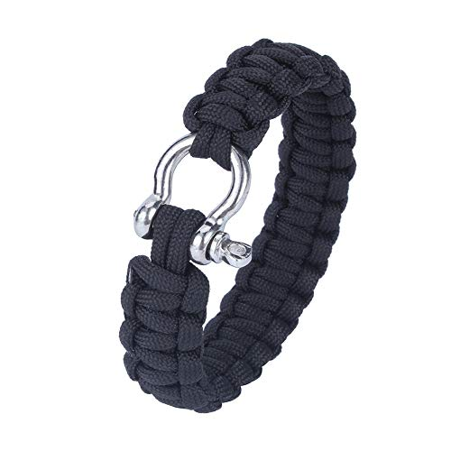 Pulsera de supervivencia al aire libre inoxidable, pulsera de paracaídas 24.5cm de cuerda de muñeca de salvavidas de nylon hecho
