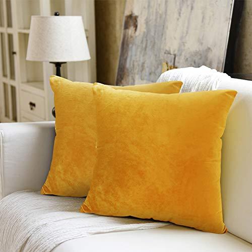 WEYON Juego de 2 fundas de cojín de terciopelo decorativas con cremallera oculta resistente para sofá, dormitorio o coche, terciopelo, amarillo limón, 40 x 40 cm