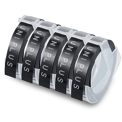 UniPlus 5x Kompatibel 3D Prägeband als Ersatz für Dymo Embossing 3D Etikettenband 9mm x 3m Weiß auf Schwarz für Dymo Omega Junior Embosser, Old Rotex Embosser, Oldschool Label Maker