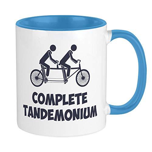 Tandem Bike Complete Tandemonium Mugs, White/Blue Inside