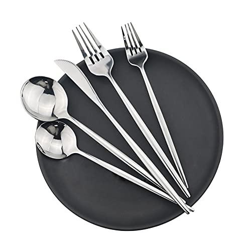 SHUAN QIAO 30Pcs Silverware Set Stainless Steel Dinnerware Set Cutlery Set Knife Fork Spoon Dinner Set Silver Home Tableware Set (Color : 30 Pcs)