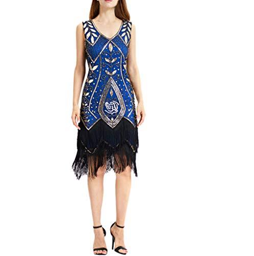 Best Price jin&Co Womens Flapper Dresses 1920s Gatsby Plus Size Vintage Flapper Fringe Beaded Sequ...