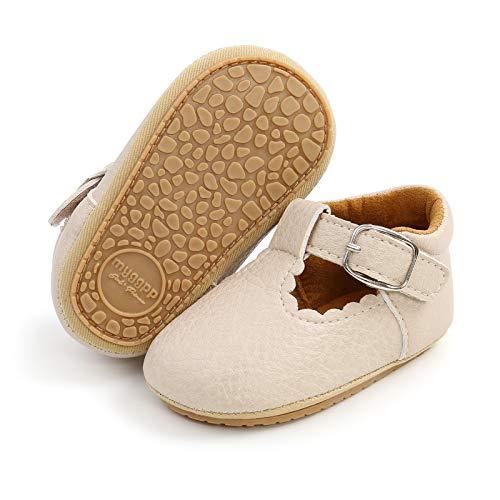 Mocasines para bebé niña princesa brillante, zapatos de vestir Mary Jane Premium ligeros suela suave zapatos para cuna, beige (A1-beige.)