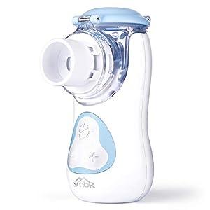 immagine di SIMBR Aerosol a Pistone Portatile,Inalatore Nebulizzatore Silenzioso con Maschera e Boccaglio per Bambini e Adulti.