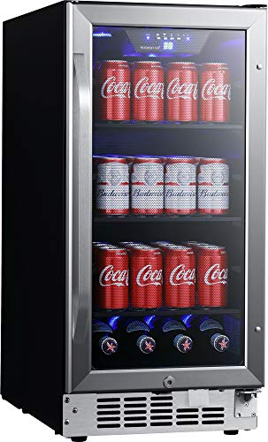 EdgeStar CBR902SG 15 Inch Wide 80 Can Built-In Beverage Cooler with Blue LED Lighting