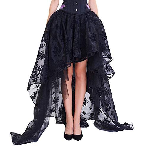coswe - prenda de mujer, color negro, Irregular, estilo Steampunk, con gasa, para Cosplay