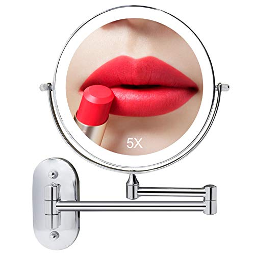 8 Inch Wall Mounted Lighted Makeup Vanity Mirror with 3 Color Lights, Double Sides 1X/5X Magnifying Bathroom Makeup Mirror, Touch Screen Dimming, Double Power Supply, 360°Cosmetic Shaving Mirror