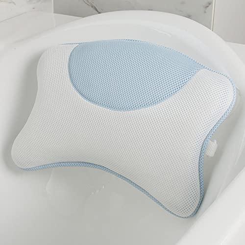 Oeternity Almohada De Bañera, Malla De Aire 3D Accesorios De Baño Transpirables para Mujeres Y Hombres, Diseño De Soporte De Baño De Diseño Ergonómico, para Cabeza, Cuello Y Espalda,Azul