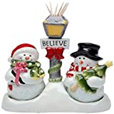Cosmos Gifts 10650 Juego de sal y pimienta muñeco de nieve y soporte para palillos de dientes, 5-1/4...