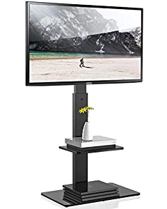TV FLOOR STAND FOR 65 INCH TV - The floor tv stand fits most 32 37 40 43 46 50 55 60 65 inch TVs, Make sure your VESA (mounting hole pattern) falls between: 200(w)x200(h)-600(w)x400(h)mm. SWIVEL MOUNT & HEIGHT ADJUSTMENT- this corner TV stand could s...
