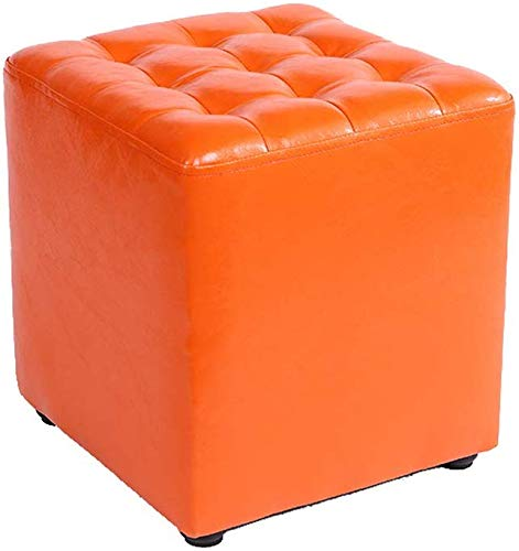 YLCJ Sofauhl, kruk met voetensteun, inklapbaar, kunstleer (kleur: Kruk, rond, zwart) Square Stool Orange
