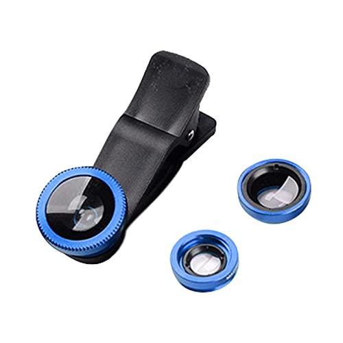 #N/A/a 3 en 1 Lente de teléfono Clip-On Fish Eye Plus 0.67x Gran Angular Lente Macro Kit de Lente para Smartphone - Azul