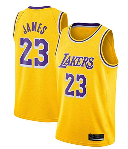 Basketball Trikot- 23 Basketballtrikot Los Angeles Lakers Trikot - Schwarz Gelb Lila (GRÖSSE: S-XXL)