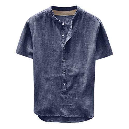 Celucke Leinenhemd Herren Kurzarm Henley Shirt Männer Einfarbig Freizeithemd Übergröße Sommer Casual Hemden Leichte Atmungsaktives Bequem Leinen Sommerhemden Loose Fit (Blau, XL)