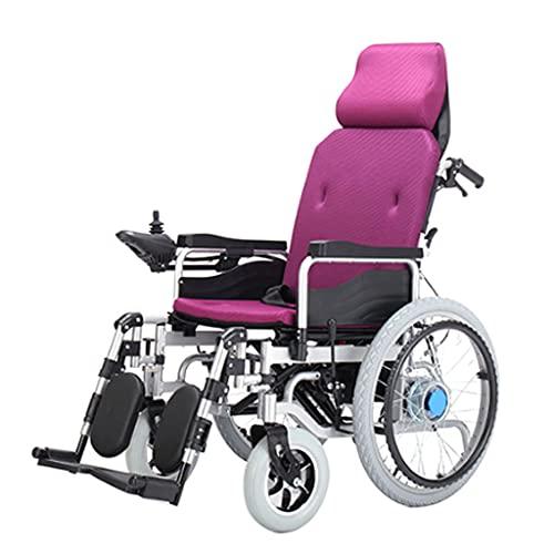 LHQ-HQ Silla De Ruedas Eléctrica Plegable Completa con Reposacabezas Ayuda De Movilidad Portátil para Personas Mayores Discapacitadas, Motor Dual De 250 W, Largo Alcance,Púrpura