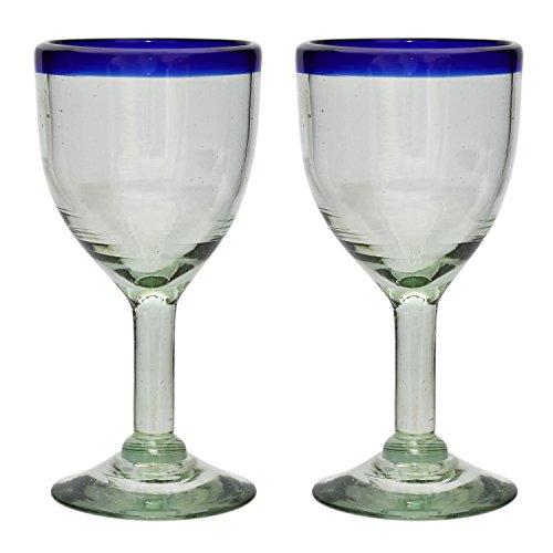 Verre à vin artisanal – Taille moyenne - Verre recyclé - bordure bleue - Par 2 pièces
