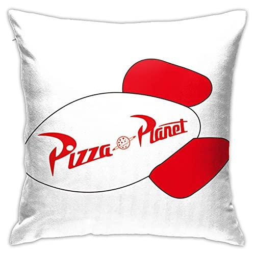 Funda de almohada decorativa Pizza-Planet-Rocket-Ship para decoración del hogar, 45,7 x 45,7 cm