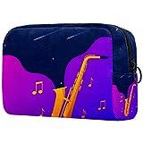 Bolso Cosmético Impermeable Saxofón Neceser Viaje Bolsa de Maquillaje Portable Neceser de Bolsa de Lavado de Viajes Vacaciones Elementos Esenciales 18.5x7.5x13cm
