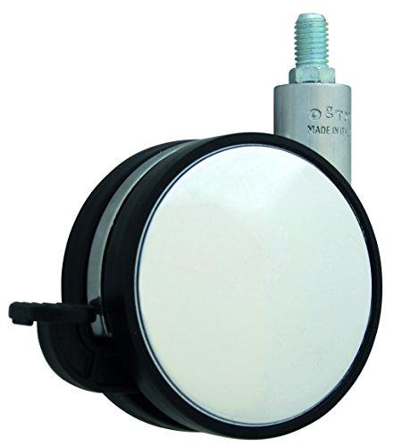 HSI 261250.0 Design-Möbelrollen mit Bremse und Stift M10 Zamak chrom/Schwarz