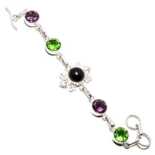 jewels paradise Pulsera de ónix negro y peridoto verde, amatista africana, hecha a mano con plata de ley 925, joyería chapada en plata de ley – ajustable y flexible – (SF-1130)