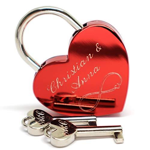 Liebesschloss Herzschloss rot mit 2 Schlüssel graviert