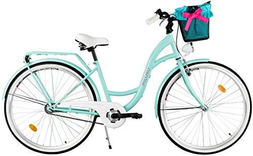 Milord. Komfort Fahrrad mit Korb, Hollandrad, Damenfahrrad, 3-Gang, Aqua Blau, 26 Zoll