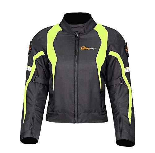 Vestes De Moto pour Les Femmes Respirant Imperméable à l'eau De Protection De Veste De Moto Collection De Vestes Réfléchissantes Confortables,Green-XL