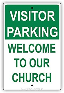 BIN SHANG Visitor Parking Welcome to Our Church Reserved Guest Notice Aluminium Metal 8x12 inch Sign Plate