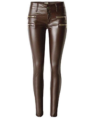 ZhuiKun Mujer Pantalones PU Cuero Slim Elásticos Leggings Vaqueros Café 38