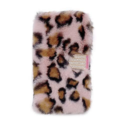 Miagon Plüsch Hülle für Samsung Galaxy A10,Flip PU Leder Hülle mit Diamant Buckle Kartenfächern Stand Warmer Winter Pelzig Brieftasche Schutzhülle,Leopard Rosa