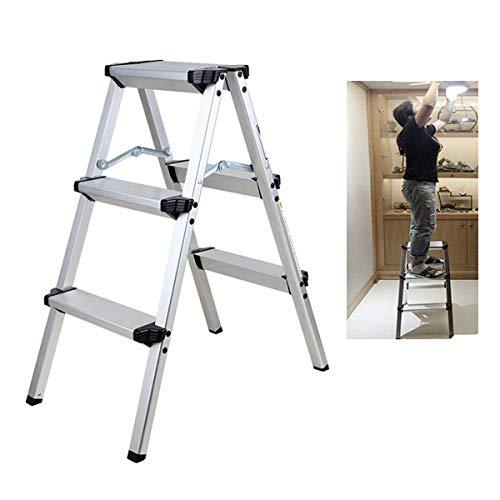 Yonntech Escalera aluminio aleación doble cara Escalera plegable Paso Escalera a tipo de presupuesto de seguridad escalera de alto rendimiento Escalera hasta 150 kg portátil