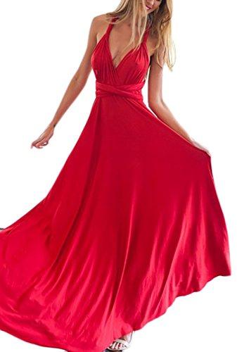Vestido Coctel Mujer Vestidos De Fiesta Largos De Noche Elegantes Sencillos Diario Bandage Sin Mangas Hombro Descubierto Espalda Descubierta Vestido Largo Vestidos Verano (Color : Rojo, Size : M)