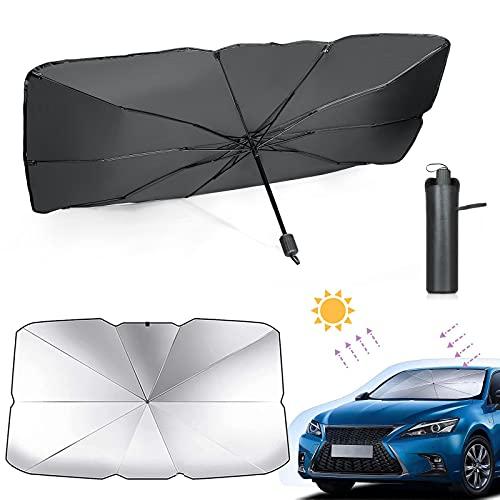 Sombrilla Paraguas del Coche, XiYee Parasol para Parabrisas de Coche, Parasol Delantero, Plegable Parasol Coche Delantero Protector con Anti UV Rayos, Paraguas Multiuso (79*138cm)-B