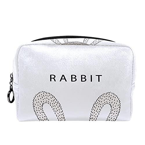Neceser bolsa de maquillaje, cepillo de transporte, bolsa de lavado de gimnasio, bolsa organizadora de cosméticos, kit de viaje para hombres y mujeres, linda cabeza de conejo con pañal de calcetín