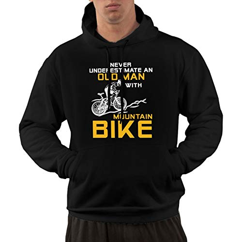 Can Not Underestimate The Old Man with A Mountain Bike Men's Blend Fleece Hooded Sweatshirt Black