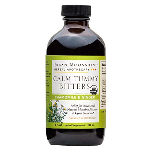 Urban Moonshine Calm Tummy Digestive Bitters | Organic Herbal Supplement for Occasional Nausea & Upset Stomach | Chamomile & Ginger | 8 fl oz (Pack of 1)