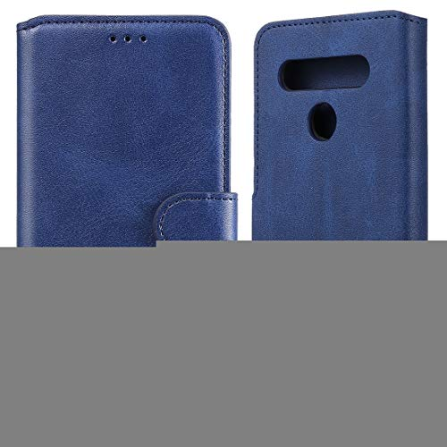 Caja del teléfono móvil para LG K51S / Q51S Classic Becerta Textura PU + TPU Funda de Cuero Horizontal Flip, con Soporte y Ranuras para Tarjeta y Billetera (Color : Blue)