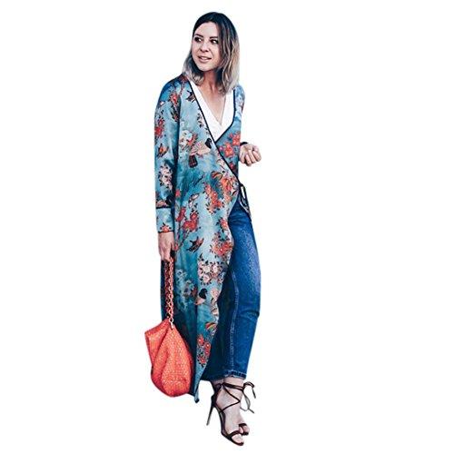 Koly Mujeres de Boho Largo Kimono Cardigan Feitong Bohemia para Mujer Tassel Floral Chalecos Largos del mantón del Kimono Largo Ropa de Abrigo Manga Larga (XL, Azul)