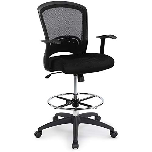 Ergonomic Mid-Back Mesh Adjustable Drafting Chair with Foot Ring, Standing-Desk Matched Tall Swivel Computer Office Stool, Black