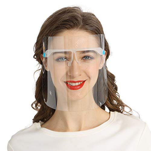 Peesnt Clear Plastic Glass Face Shields, 8 Shields and 4 Glasses
