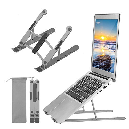 Madeinely Soporte de ordenador portátil ajustable para portátiles y portátiles, portátil y fácil de usar ergonómico (tamaño libre; color: gris)