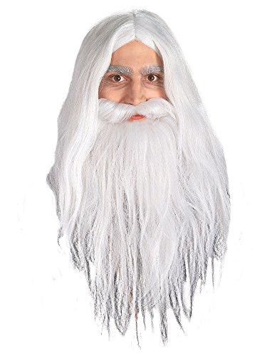 Gandalf Lord of the Rings beard and wig for men. peluca