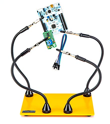 KOTTO Third Hand Soldering Tool PCB Holder Four Magnetic Based Flexible Metal Arms Helping Hands Crafts Jewelry Hobby Workshop Helping Station Non-Slip Steel Weighted Base