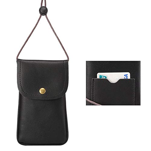 Cell Phone Neck Pouch, Techcircle PU Leather Carrying Bag with Credit Card Holder Adjustable Strap, Small Travel Purse for iPhone 11 XR XS Max SE 8 7 6 Plus, Galaxy S10 S7 Edge A10 J7, Moto G6 (Black)
