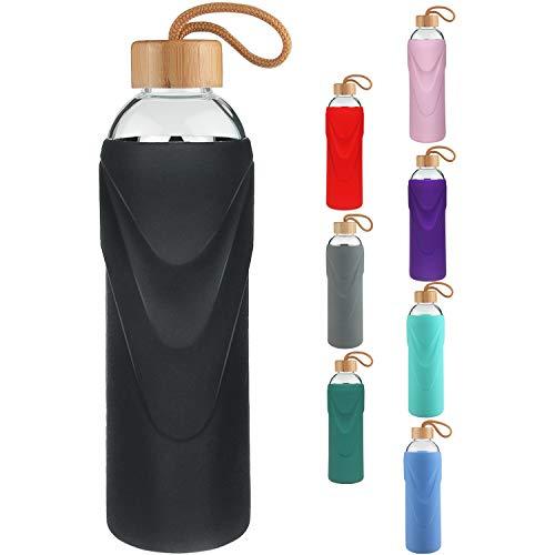 FCSDETAIL Sport Borosilikat Trinkflasche Glas Wasserflasche mit Silikonhülle und Auslaufsicherem Deckel 420ml / 660ml / 1000ml