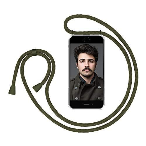 ZhinkArts Handykette kompatibel mit Apple iPhone 6 / 6S - Smartphone Necklace Hülle mit Band - Handyhülle Case mit Kette zum umhängen in Olivgrün - Grün