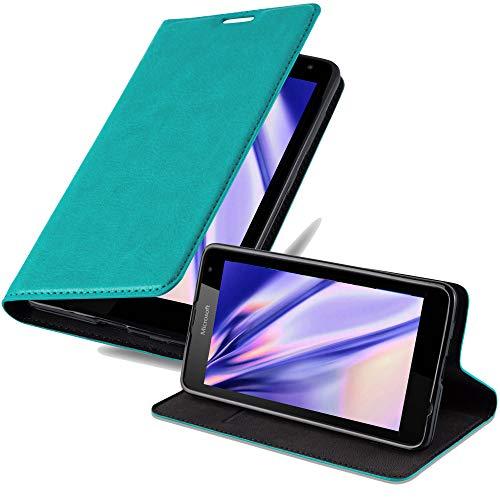 Cadorabo Hülle für Nokia Lumia 535 in Petrol TÜRKIS - Handyhülle mit Magnetverschluss, Standfunktion & Kartenfach - Hülle Cover Schutzhülle Etui Tasche Book Klapp Style