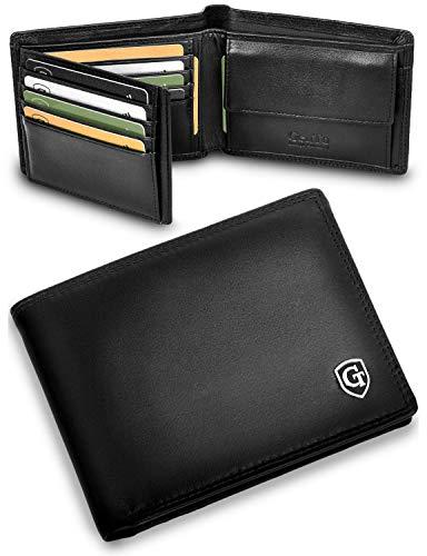 GenTo® Manhattan Geldbörse mit Münzfach - TÜV geprüfter RFID, NFC Schutz - geräumiges Portemonnaie - Geldbeutel für Herren und Damen - Portmonaise inkl. Geschenkbox (Schwarz - Glatt)