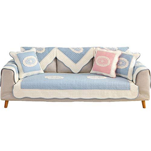 YUTJK Funda De Sofá para Mascotas Perro,Composable Antideslizante Resistente Anti-Suciedad Sofá Cubierta,Tapa de sofá Acolchada de algodón de Encaje de Onda-Azul_110×180cm
