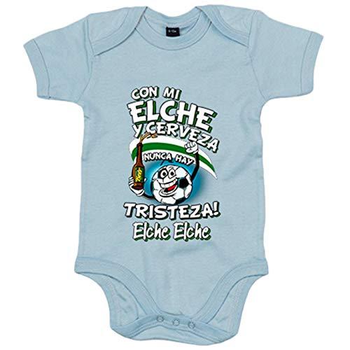 Body bebé frase con mi Elche y cerveza nunca hay tristeza fútbol - Celeste, 6-12 meses